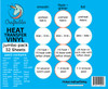 """Craftables Smooth, Glitter, Foil, and Flock Jumbo Heat Transfer Vinyl Pack - (32) 9.8"""" x 12"""" Sheets"""