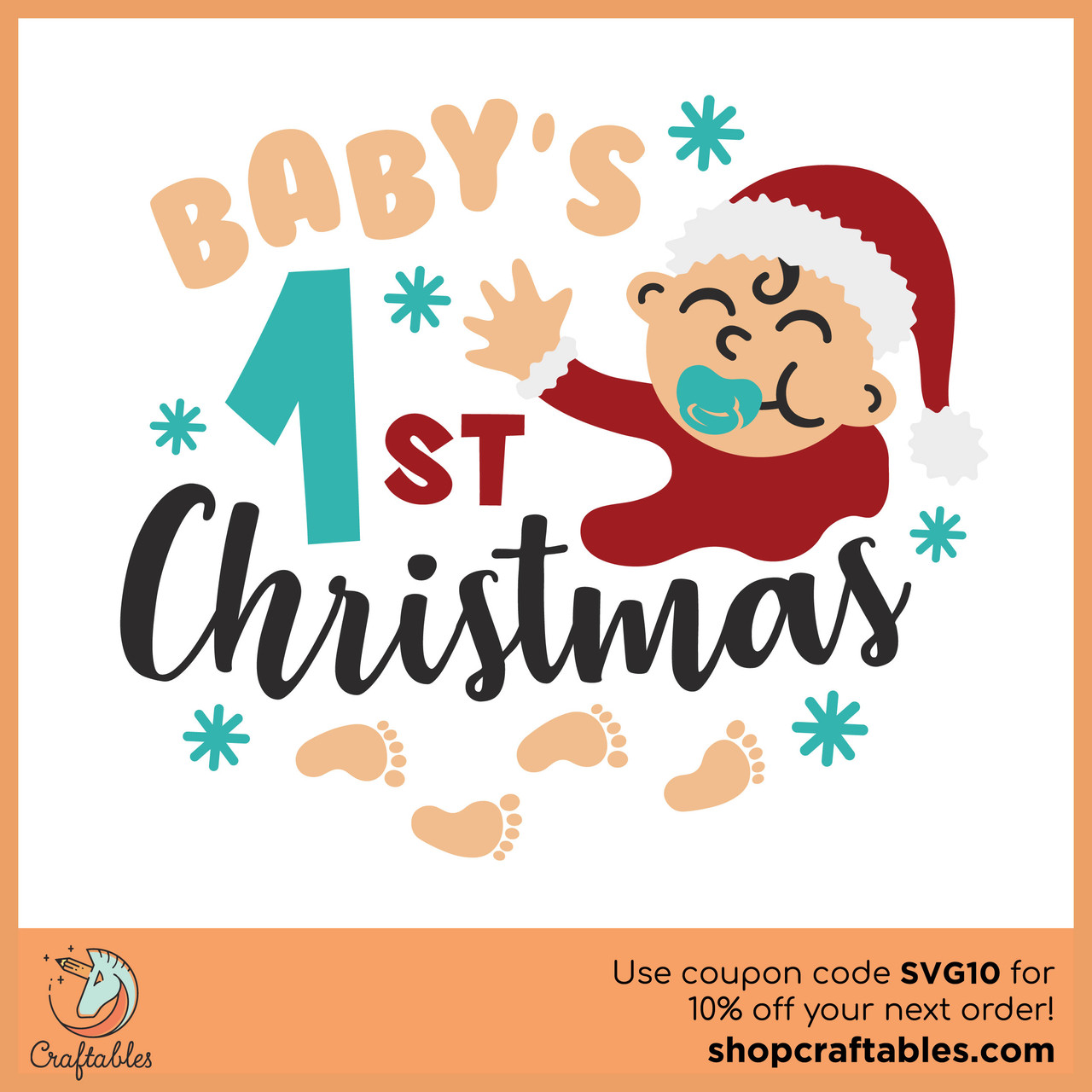 Free Baby S First Christmas Svg Cut File Craftables
