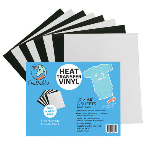 Craftables Heat Transfer Vinyl Black And White Pack Sheets