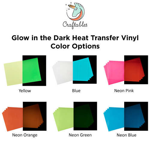 Glow in the dark iron on vinyl color chart