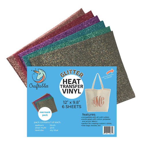 Craftables Glitter Heat Transfer Vinyl Mermaid Pack
