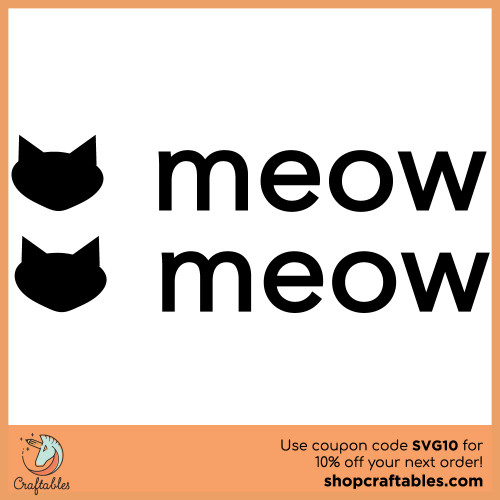 Free SVG cut file- cat inspired MEOW for Cricut, Silhouette, Illustrator, inkscape, t shirts