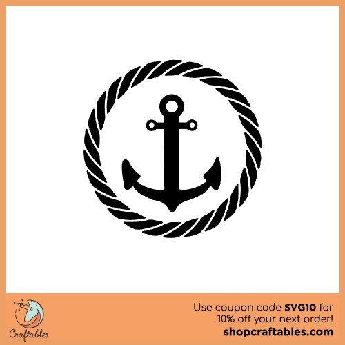Free Anchor-With-Border SVG Cut Files for Cricut, Silhouette, Illustrator, inkscape, t shirts