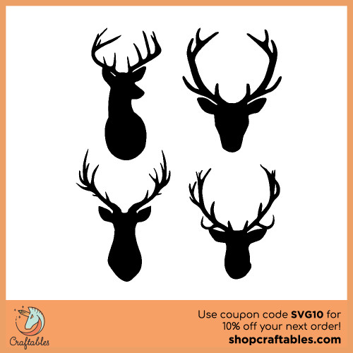 Free Deer With Antlers SVG Cut Files for Cricut, Silhouette, Illustrator, inkscape, t shirts