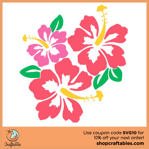 free Hibiscus SVG cut file for Cricut, Silhouette, Illustrator, inkscape, t shirts