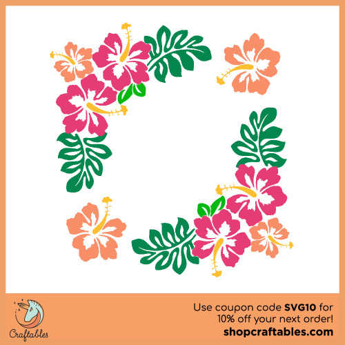 Free Hibiscus-Border SVG Cut Files | Craftables for Cricut, Silhouette, Illustrator, inkscape, t shirts