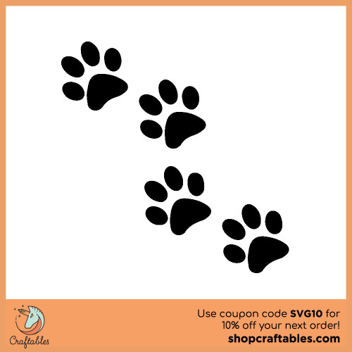 Free Paw Print SVG Cut File for Cricut, Silhouette, Illustrator, inkscape, t shirts