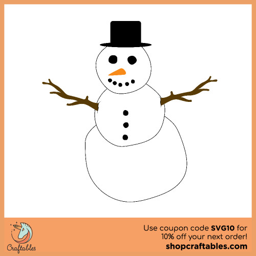 Free snowman SVG Cut File for Cricut, Silhouette, Illustrator, inkscape, t shirts