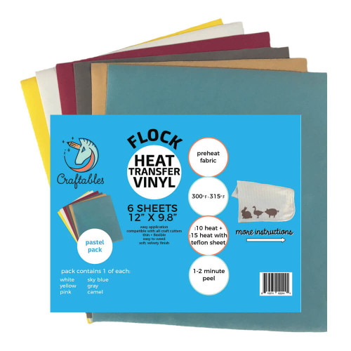 Flocked HTV Pastel Pack (6) Sheets   Flock iron on Vinyl By Craftables