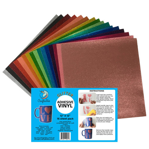 Translucent Glitter Adhesive Vinyl Complete Starter Pack (16) sheets By Craftables