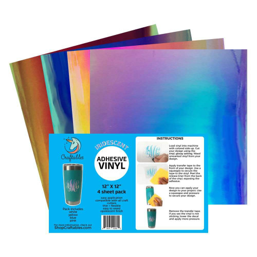 Holographic Vinyl Starter Pack (4) Sheets | Iridescent Adhesive Vinyl By Craftables