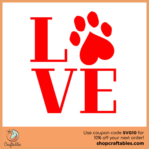 Free Pawprint Love  SVG Cut File for Cricut, Silhouette, Illustrator, inkscape, t shirts