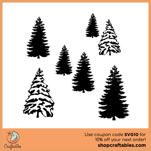 Free Winter Trees  SVG Cut File for Cricut, Silhouette, Illustrator, inkscape, t shirts