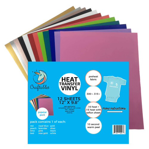 "Craftables Smooth Starter Heat Transfer Vinyl Pack - (12) 9.8"" x 12"" Sheets"