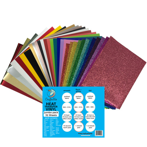 "Craftables Smooth, Glitter, Foil, and Flock Jumbo Heat Transfer Vinyl Pack - (32) 9.8"" x 12"" Sheets"