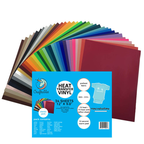 """Craftables Complete Smooth Heat Transfer Vinyl Pack - (34) 9.8"""" x 12"""" Sheets"""