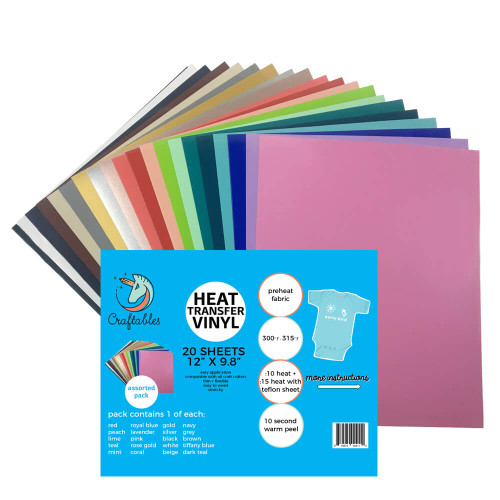 Assorted Iron on Vinyl Pack |Smooth Heat Transfer Vinyl | 20 Sheets By Craftables