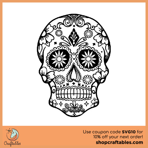 Free Sugar Skull SVG Cut File for Cricut, Silhouette, Illustrator, inkscape, t shirts