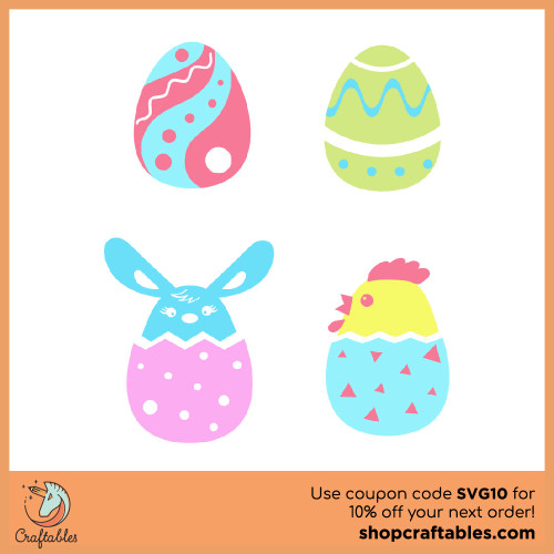 Free Easter Eggs SVG Cut FIle for Cricut, Silhouette, Illustrator, inkscape, t shirts