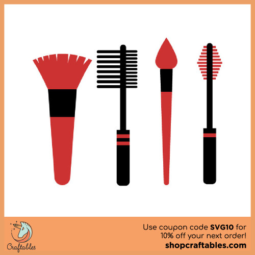 Free Make Up Brushes SVG Cut File for Cricut, Silhouette, Illustrator, inkscape, t shirts