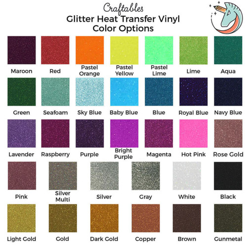 Glitter Iron on Vinyl Rolls | Glitter HTV Vinyl for Cricut, Silhouette By Craftables