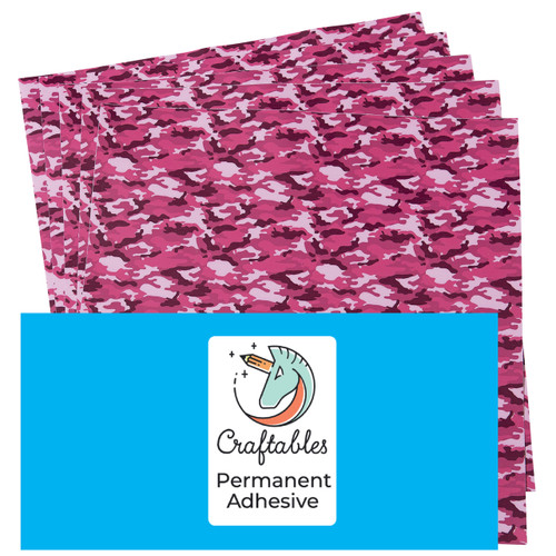 Craftables Patterned Adhesive Pink Camo Print