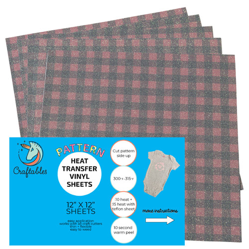 Craftables Pattern Glitter Heat Transfer Vinyl Buffalo Plaid Print