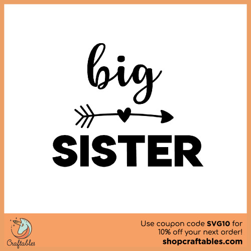 Free Big Sister SVG Cut File for Cricut, Silhouette, Illustrator, inkscape, t shirts