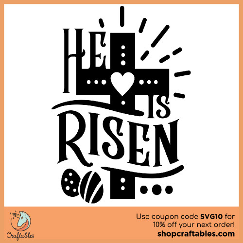 Free He Is Risen SVG Cut File for Cricut, Silhouette, Illustrator, inkscape, t shirts