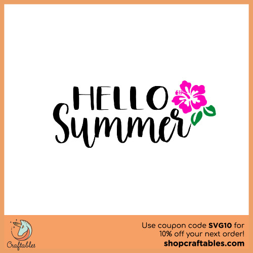Free Hello Summer SVG Cut File for Cricut, Silhouette, Illustrator, inkscape, t shirts