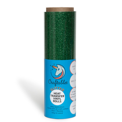 Green Glitter Iron on Vinyl Roll | 8ft Glitter HTV Vinyl for Cricut, Silhouette By Craftables