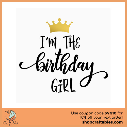 Free Birthday Girl SVG Cut File for Cricut, Silhouette, Illustrator, inkscape, t shirts