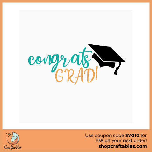 Free Congrats Grad SVG Cut File for Cricut, Silhouette, Illustrator, inkscape, t shirts