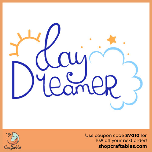 Free Day Dreamer SVG Cut File for Cricut, Silhouette, Illustrator, inkscape, t shirts
