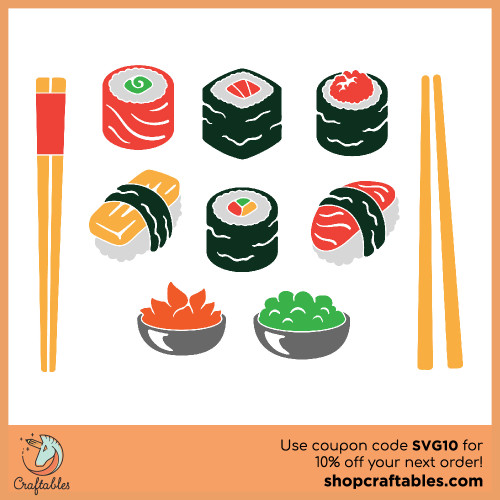 Free SVG Sushi Cut File for Cricut, Silhouette, Illustrator, inkscape, t shirts