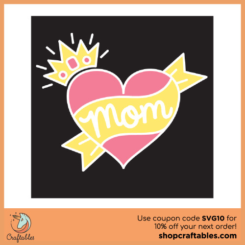 Free Mom Heart SVG Cut File for Cricut, Silhouette, Illustrator, inkscape, t shirts