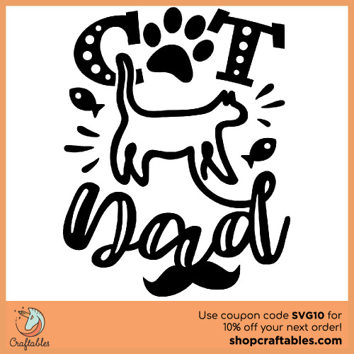 Free Cat Dad SVG Cut File for Cricut, Silhouette, Illustrator, inkscape, t shirts