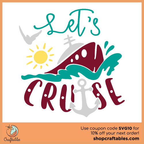 Free Let's Cruise SVG Cut File for Cricut, Silhouette, Illustrator, inkscape, t shirts
