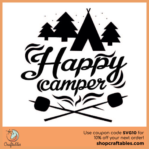 Free Happy Camper SVG Cut File for Cricut, Silhouette, Illustrator, inkscape, t shirts