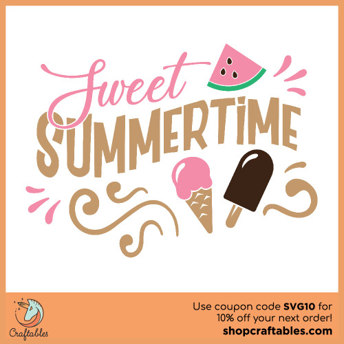 Free Sweet Summertime SVG Cut File for Cricut, Silhouette, Illustrator, inkscape, t shirts