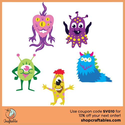 Free Monsters SVG Cut File for Cricut, Silhouette, Illustrator, inkscape, t shirts