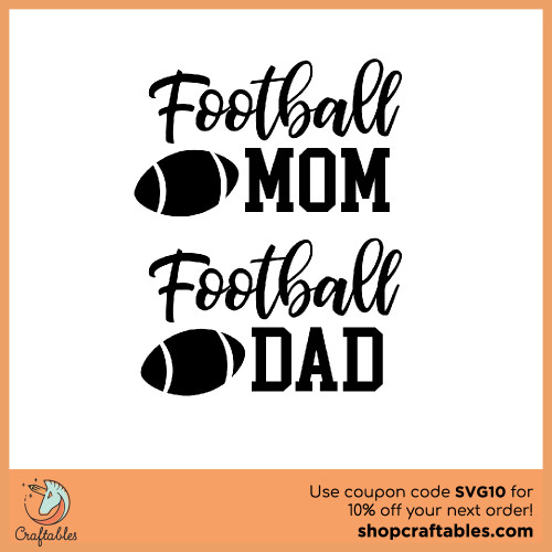 Free Football Mom and Football Dad SVG Cut File for Cricut, Silhouette, Illustrator, inkscape, t shirts