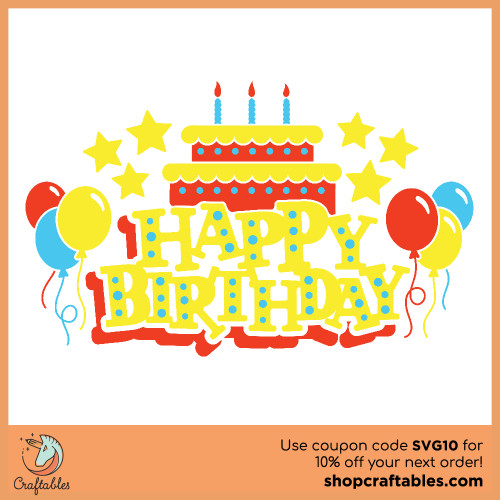 Free Happy Birthday SVG Cut File for Cricut, Silhouette, Illustrator, inkscape, t shirts