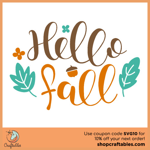 Free Hello Fall SVG Cut File for Cricut, Silhouette, Illustrator, inkscape, t shirts