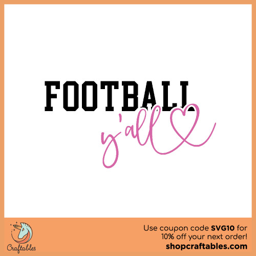 Free Football Y'all SVG Cut File for Cricut, Silhouette, Illustrator, inkscape, t shirts