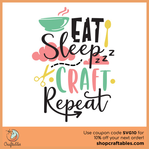 Free Eat Sleep Craft Repeat SVG Cut File