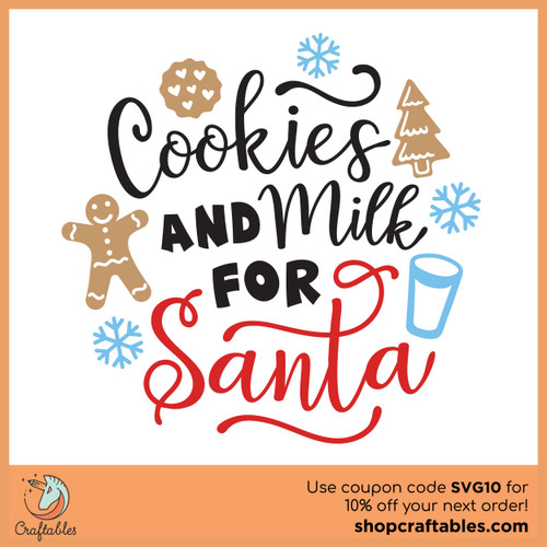 Free Cookies and Milk for Santa SVG Cut File