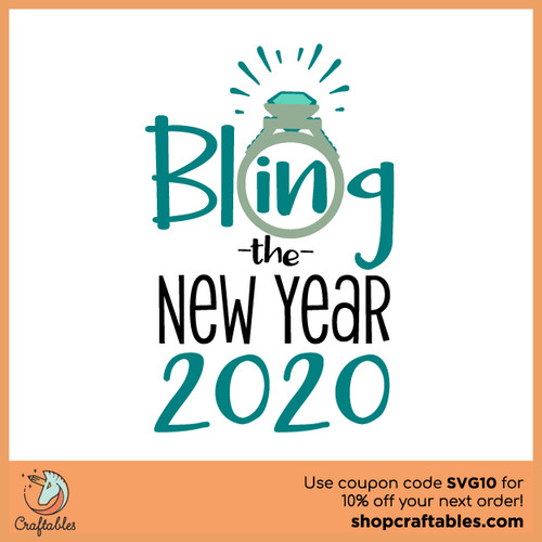 Free Bling in New Year SVG Cut File