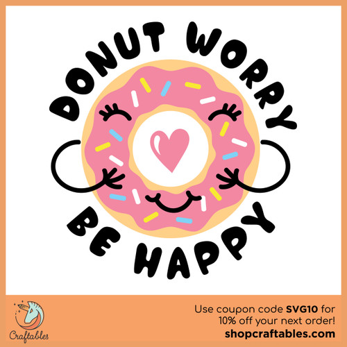 Free Donut Worry Be Happy SVG Cut File