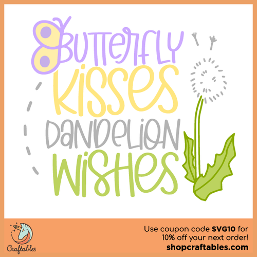 Free Butterfly Kisses Dandelion Wishes SVG Cut File